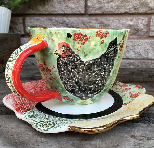 Barred Plymouth Rock Chicken Soup Cup and Plate