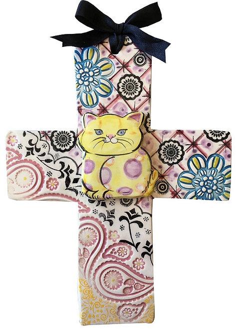 cross, birth, baby gift, cat, wedding,ceramic, cross