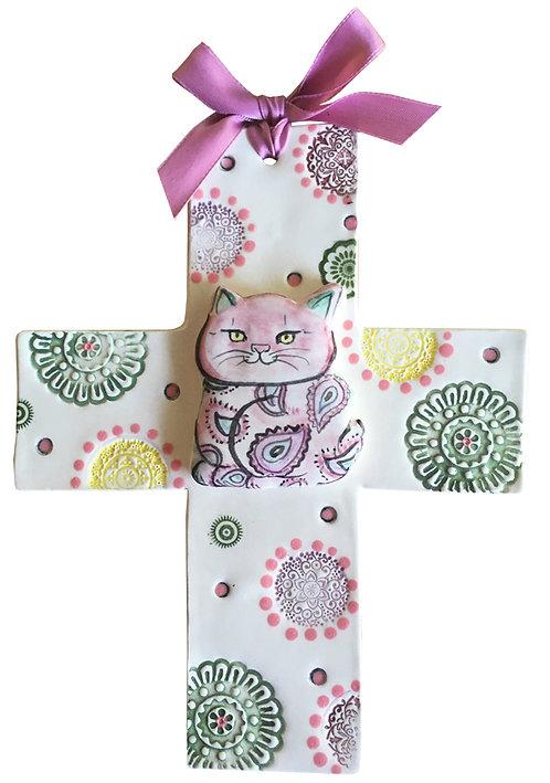 cat ceramic cross handmade Blue Domino pet baby custom  gift, birth
