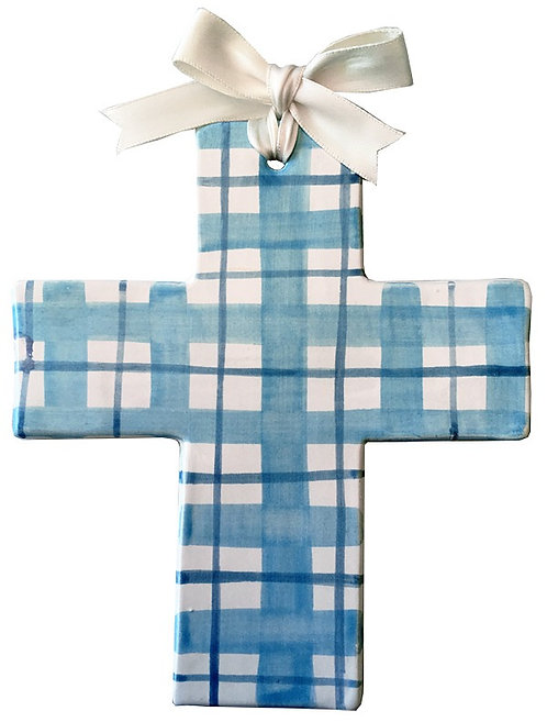 blue, plaid, gingham, baptism, christening, religious, communion, baby, shower, wedding, ceramic, cross