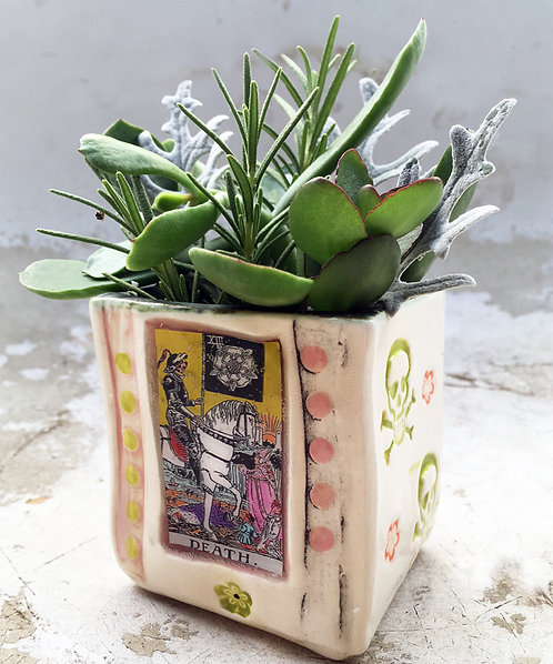 Tarot Card (Death) Succulent Planter