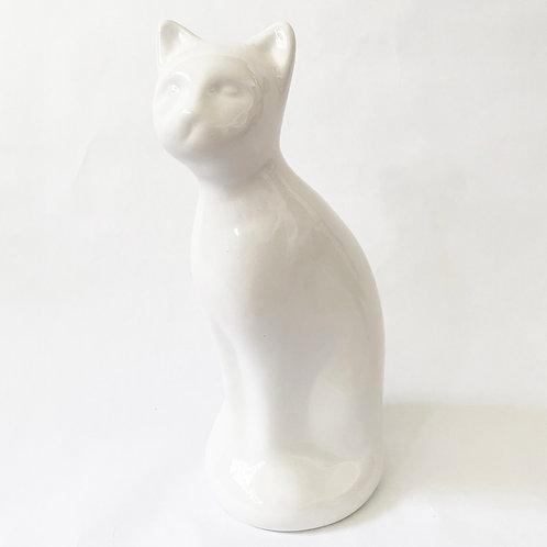 White Cat Urn w/ Stopper