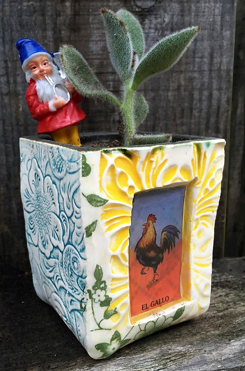 Lotería El Gallo  (the rooster) Succulent Planter