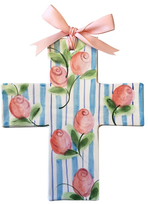 rose, baptism, christening, religious, communion, baby, shower, wedding, ceramic, cross