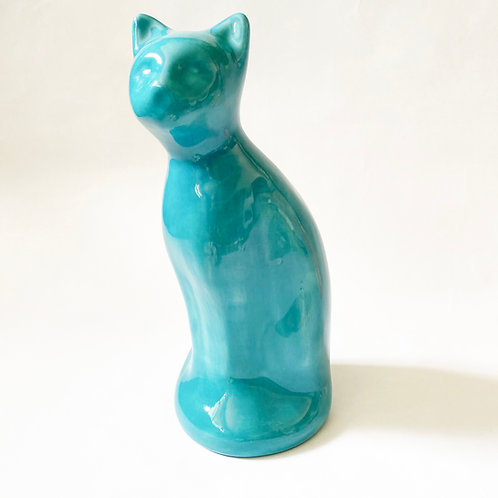 Deep Turquoise Cat Urn w/ Stopper