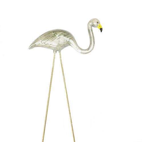 Pearl Grey Ceramic Flamingo