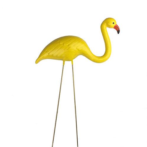 Yellow Ceramic Flamingo