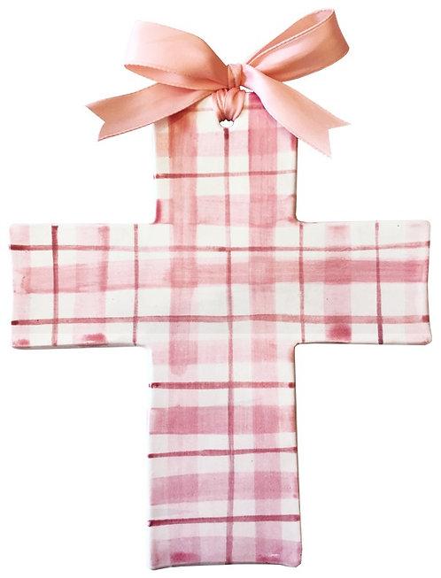 pink, plaid, baptism, christening, religious, communion, baby, shower, wedding, ceramic, cross