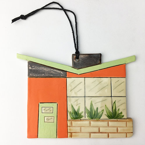 Ceramic Mid Century Modern House Ornament Green Door