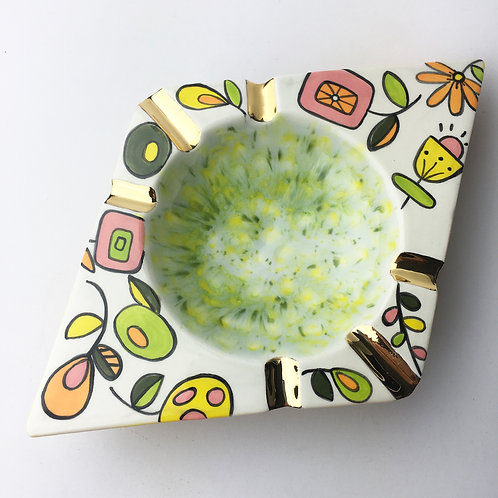 Mid Century Modern Holy Smokes Atomic Flowers Ceramic Ashtray