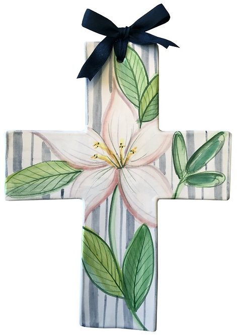 lily, baptism, christening, religious, communion, baby, shower, wedding, ceramic, cross