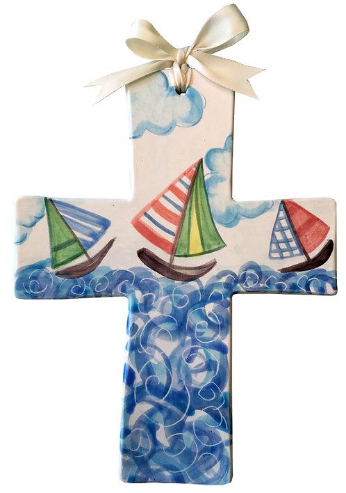 sailing, boats, baptism, christening, religious, communion, baby, shower, wedding, ceramic, cross