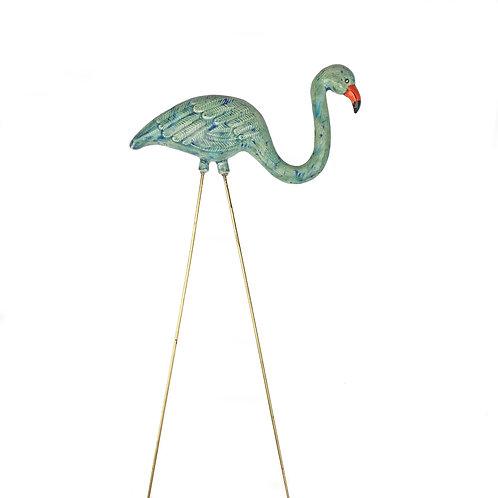 Speckle Blue/Green Ceramic Flamingo