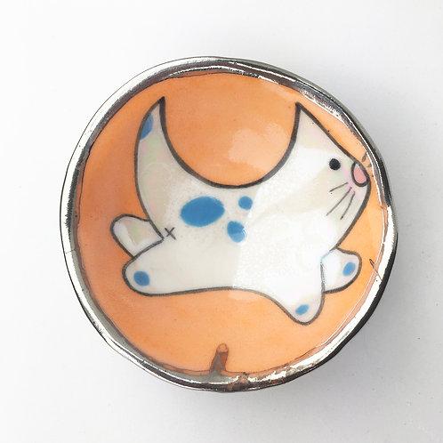 Ceramic Tiny Cat Treat Bowl or Dipping Sauce Bowl (Kitty)