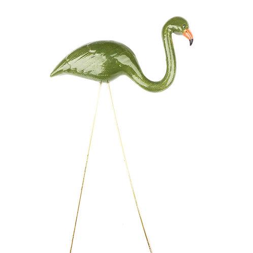 Camo Green  Ceramic Flamingo