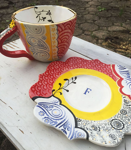 Ceramic Personalized Soup Cup and Plate (Fran Tia)