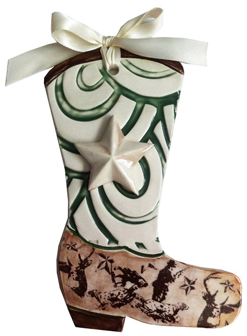 Ceramic Cowboy Boot Wall Hanging (Cowboy Up)