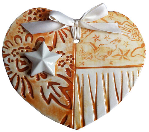 Ceramic Texas Flag Heart (Hook 'em) UT