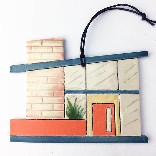Ceramic Mid Century Modern House Ornament Orange Door