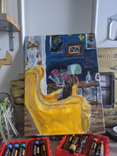 Cats in yellow IKEA armchair acrylic painting