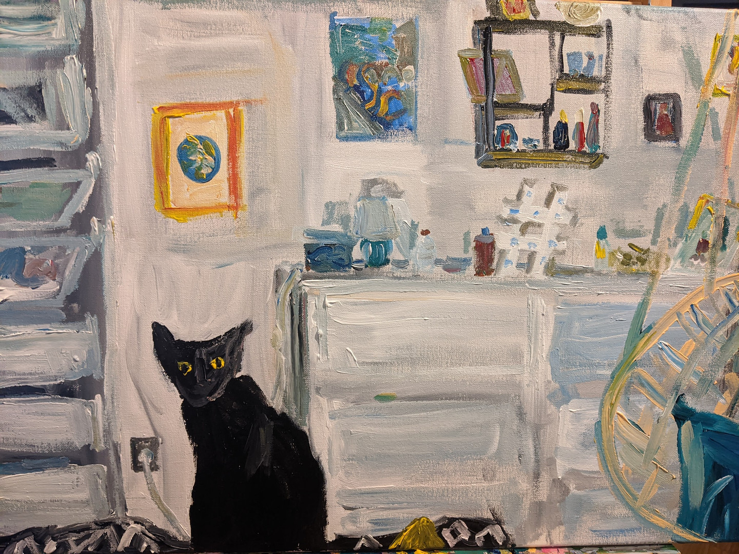 Oz the cat in the bedroom painting