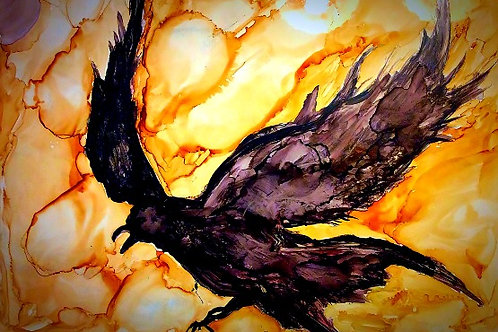 """Raven Taking Flight"", alcohol ink painting"