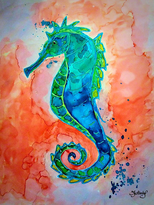 """""""Seahorse"""", alcohol ink painting"""
