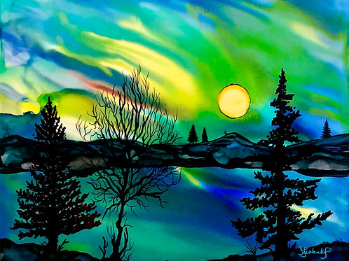 """""""Northern Sky"""", aurora alcohol ink painting"""