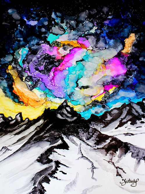 """Mountain Cosmos"", alcohol ink painting"