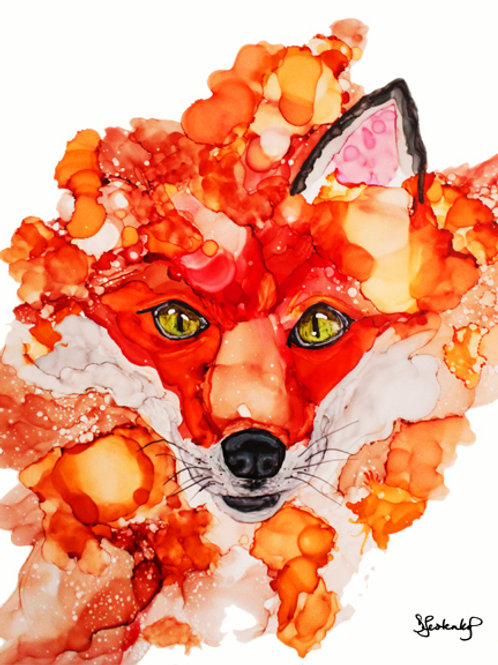 """Fire and Jade"", fox alcohol ink painting"