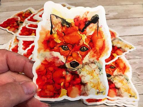 Fox Whispers waterproof sticker by Deb Lestenkof