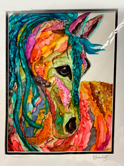 The Painted Pony, original alcohol ink painting