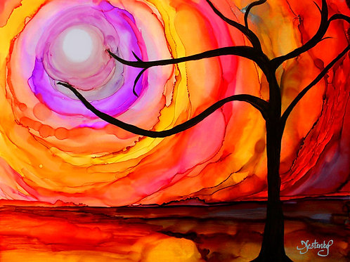 """Autumn Sunset"", alcohol ink painting"