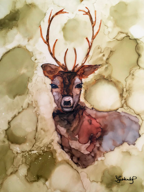 """Messenger of the Forest"", deer alcohol ink painting"