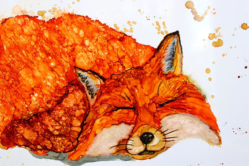 """Sleeping Fox"", alcohol ink painting"