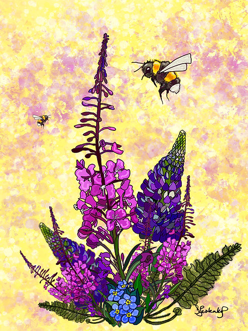"""Bees n Fireweed"", alcohol ink painting"