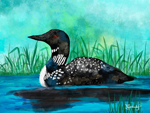 """""""Loon's Cove"""", alcohol ink painting"""
