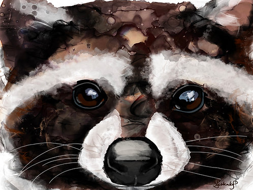 """""""Little wild one"""", raccoon alcohol ink painting"""