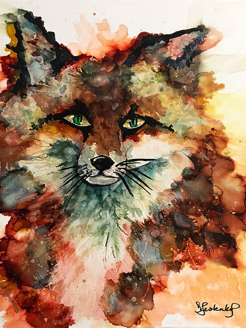 """Ember Fox"",  alcohol ink painting"