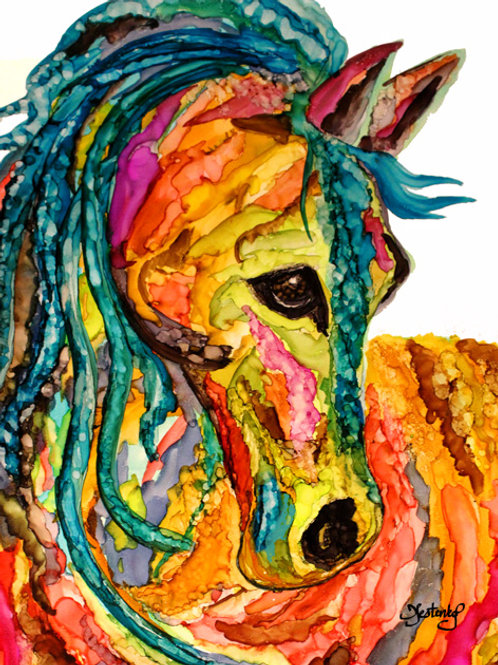 """The Painted Pony"", alcohol ink painting"