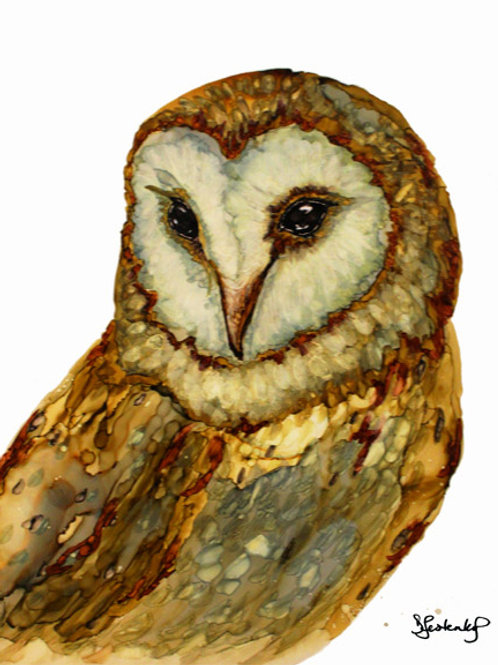 """""""Barn Owl"""", alcohol ink painting"""