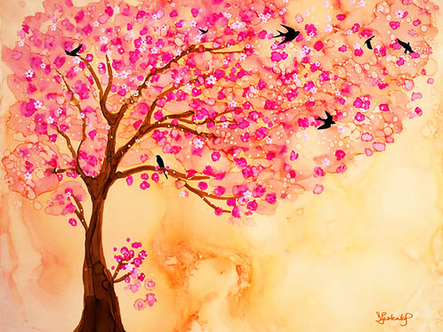 """""""Cherry Blossom Afternoon"""", alcohol ink painting"""