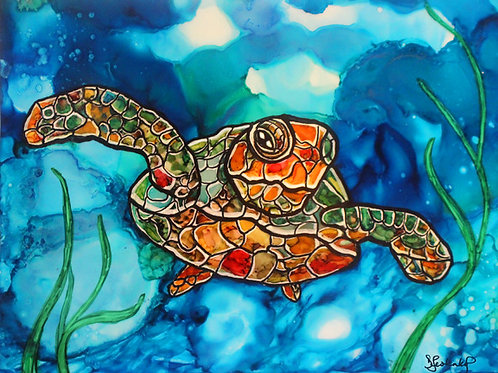 """Stained Glass Sea Turtle"",  alcohol ink painting"