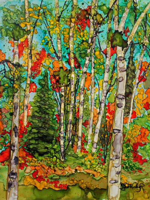 """Autumn Birches"",  alcohol ink painting"