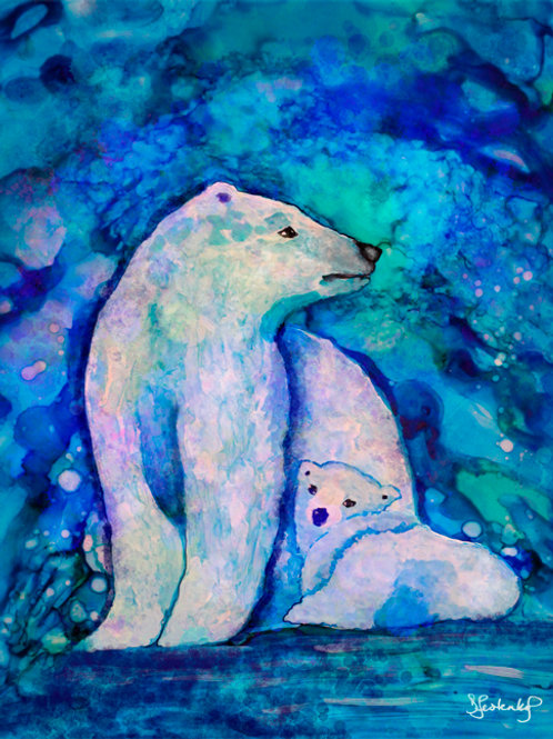 """Polar Bear Ice Cave"",  alcohol ink painting"