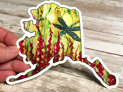 XL Dragonfly Fireweed AK waterproof sticker