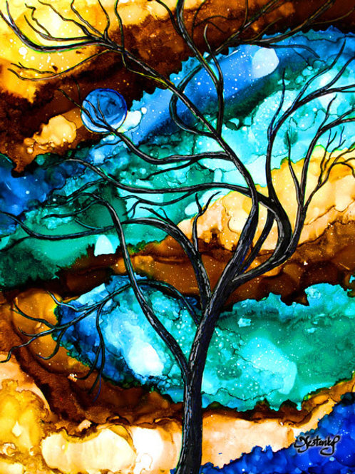 """""""Moonlit Tree"""", alcohol ink painting"""