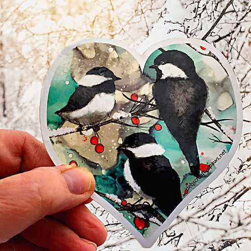 Winter Chickadees waterproof sticker