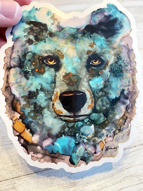Glacier Blue Bear waterproof sticker