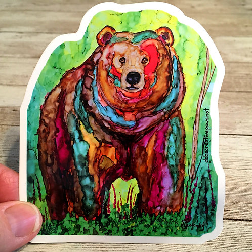 Bear in Fireweed waterproof sticker